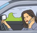talking on cell phone while driving clipart